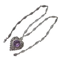 Edwardian Necklace Sterling Silver Amethyst 12.25 ct, Marcasite Accent