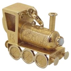 BIG Train Locomotive Jeweled Charm 18K Gold Faux Turquoise circa 1960's