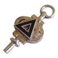 Fraternal / Sorority Key Charm, Pendant Delta Phi 10k Gold, Enamel Accent