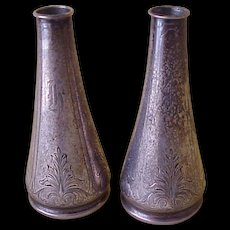 Pair of Sterling Silver Bud Vases Hand Engraved Details