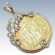Vintage Charm / Pendant 20 Francs Coin 1891 in 14k White Gold Frame