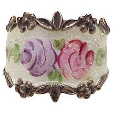 Vintage Wide Band Ring Guilloche Enamel Rose Motif Sterling Silver