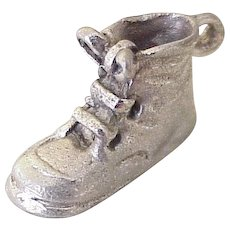 Baby Shoe Charm Three Dimensional Sterling Silver 1950