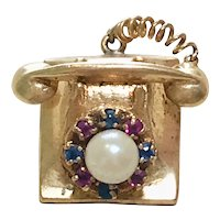 Jeweled Vintage Telephone Charm 14K Gold Three-Dimensional, Moves