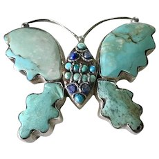 BIG Vintage Butterfly Brooch Sterling Silver Turquoise & Lapis Lazuli