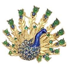 Boucher Peacock Vintage Brooch Gold-Tone Colorful Rhinestone & Enamel