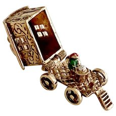 Gypsy Fortune Teller Wagon Vintage Moving Charm 9K Gold, English