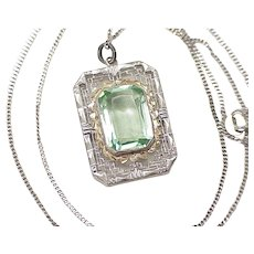 Art Deco Era Necklace Sterling Silver Filigree Faux Green Spinel Gemstone