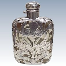 Art Nouveau Sterling Silver & Glass Flask Early Alvin 1895-1910
