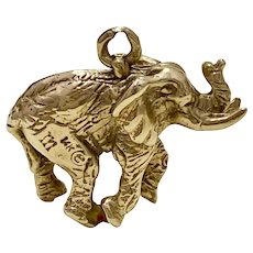 Realistic Elephant Lucky Vintage Charm SOLID 14K Gold Three-Dimensional