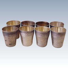 Antique Cordial Cups Set or 8, 950 Sterling Silver Paris France, Charles Barrier
