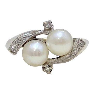 Double Pearl & Diamond Vintage Ring 14K White Gold
