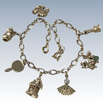 Treasures of The Silk Road Charm Bracelet 14K Gold Jeweled Accent