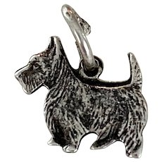 Westie West Highland Terrier Dog Vintage Charm Sterling Silver circa 1940's