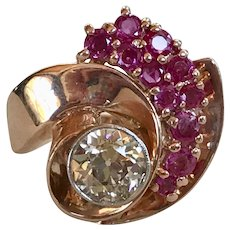 Retro Diamond & Ruby Ring 14K Rose Gold 4.63 Carat Gem Weight
