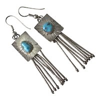 Native American Crafted Dangle Earrings Sterling Silver & Turquoise