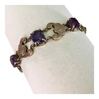 Victorian Hand Crafted Bracelet 10K Rose Gold Lab Alexandrite, Egyptian Revival