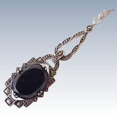 Art Deco Lavaliere Necklace Sterling Silver Onyx & Marcasite