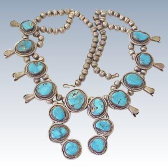 Impressive Squash Blossom Necklace Blue Gem Turquoise Sterling Silver