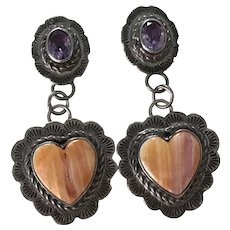 Navajo Crafted Dangle Earrings Sterling Silver Amethyst & Spiny Oyster