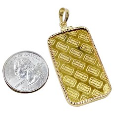 Fine Gold 1 OZ Bar 999.9 Pendant 14K Gold Frame & Bale