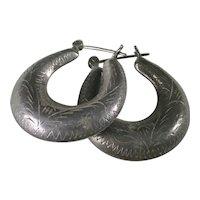 South-West Vintage Hoop Earrings Sterling Silver Hand Engraved