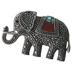 Jeweled ELEPHANT Pendant / Brooch Sterling Silver