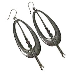 Long Dangle Earrings Handcrafted Sterling Silver & Tourmaline