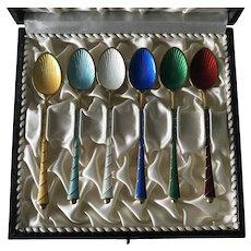 Colorful Guilloche Enamel Demitasse Spoon Set Sterling Denmark