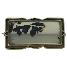 Dendritic Moss Agate Vintage Pin Brooch 10K Gold circa 1930's