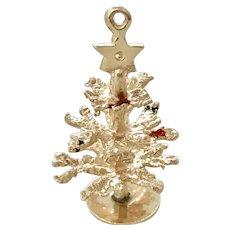 Big Christmas Tree Vintage Charm 14K Gold Three-Dimensional