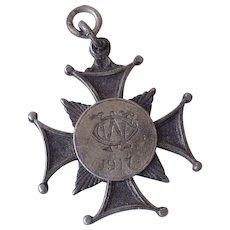 Maltese Cross Antique Pendant / Medal 1917 Sterling Silver