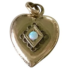 Vintage Puffy Heart Charm 10K Gold Opal Accent Engraved Irene