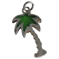 Palm Tree Vintage Charm Sterling Silver Green Enamel Accent