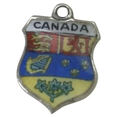 Canada Vintage Charm Colorful Glass Enamel Sterling Silver