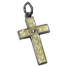Tiny Enameled Cross Vintage Charm Sterling Silver circa 1940's