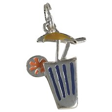 Tropical Cocktail Drink Charm Sterling Silver Colorful Enamel Accent