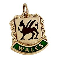 Wales UK Coat of Arms Vintage Charm 9K Gold Colorful Enamel Accent