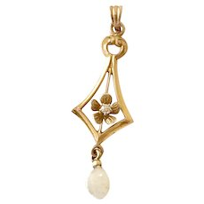 Victorian Revival Lavaliere Pendant 10K Gold Diamond & Fresh Water Pearl Accent