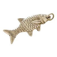Edwardian Fish Fob Charm 14K Gold Solid Three-Dimensional