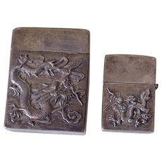 Chinese Dragon Cigarette Case and Lighter Cover Sterling Silver