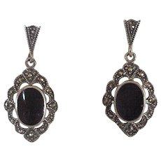 Ornate Sterling Silver, Marcasite & Onyx Dangle Earrings