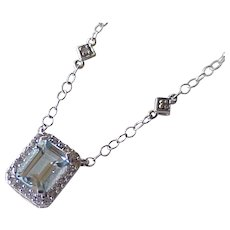 Aquamarine & Diamond Necklace 1.10 tgw 14K White Gold circa 1980's