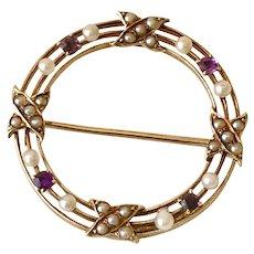 Edwardian Era Circle Pin 14K Gold Seed Pearl & Amethyst