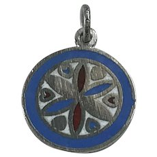 Colorful Enameled Disk Vintage Charm Sterling Silver