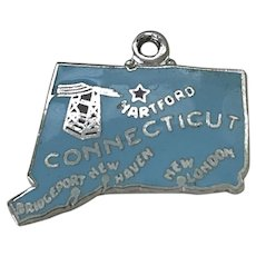 Connecticut US State Vintage Charm Colorful Enamel Sterling Silver