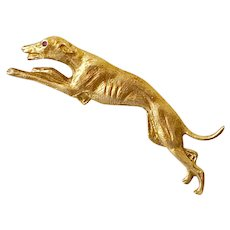 Edwardian Era Greyhound Dog Brooch / Pin 14K Gold Ruby Accent