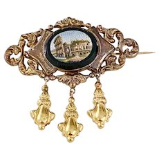 Victorian Grand Tour Brooch 18K Gold Micro Mosaic, Roman Colosseum