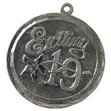 Exciting 19/Nineteen Birthday Vintage Charm Sterling Silver Enamel Accent