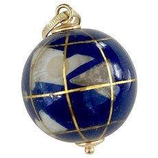 Colorful Gemstone Globe Charm 18K Gold Lapis Lazuli
